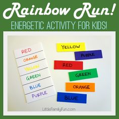 Rainbow Run! Get some wiggles out of your kids with this fun and easy activity. Great for St. Patrick's Day or for teaching colors to preschoolers.