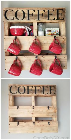 DIY Wood pallet coffee cup holder…how to make one yourself! Coffee station ide… DIY Wood pallet coffee cup holder…how to Diy Wood Pallet, Diy Pallet Furniture, Diy Pallet Projects, Wooden Pallets, Pallet Ideas, Small Pallet, Pallet Bar, Pallet Home Decor, Pallet Benches