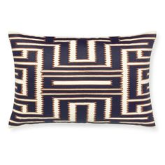 Maze Embroidered Lumbar Pillow Cover, Navy #williamssonoma