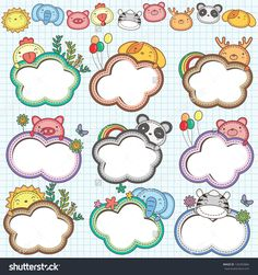 Animal Cloud Frames Set 2 (More animal frames are available) Sofia The First Birthday Party, Birthday Charts, Page Borders Design, School Frame, Powerpoint Background Design, Kids Background, Clip Art, Heart Balloons, Frame Clipart