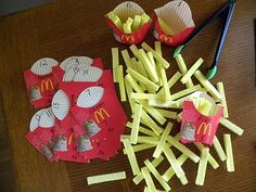 Cut up sponges to make french fries & use french fry boxes to create a counting game. Match the correct amount of fries with the number on the fry box. Great for a kindergarten center! Math Gs, Kindergarten Classroom, Teaching Math, Preschool Activities, Lego Math, Teaching Aids, Educational Activities For Kids, Learning Activities, Kids Learning