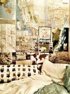 maps on the walls