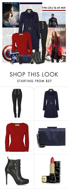 """Civil War"" by polybaby ❤ liked on Polyvore featuring Balmain, Yumi, Valentino, Sondra Roberts, Guerlain, Marvel, men's fashion, menswear, contestentry and CaptainAmericaCivilWar"