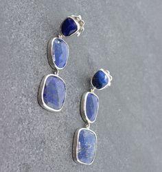 "Gifts $200-$500 - Pamela Huizenga Lapis 3 Drop Earrings - Sterling Silver and Lapis 3 Drop Earrings, 1.75"""