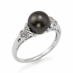 Tahitian Black Pearl Ring with Diamonds in 14K White Gold (8-9mm) Maui Divers of Hawaii. $585.00