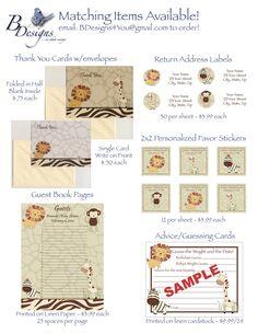 CoCaLo Nali Jungle Neutral Digital Baby Shower Invitation - You Print - Brown & Tan Giraffe, Lion. $12.99, via Etsy.
