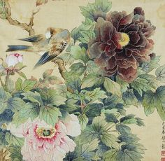 stilllifequickheart:  Unknown (Chinese) Birds and Peonies 1947