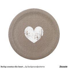 Burlap country chic heart paper plates for wedding  sc 1 st  Pinterest & Butterflies \u0026 Vintage Almond Blossom Engagement Paper Plate ...