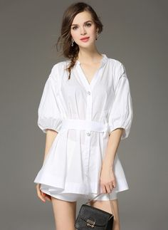 Little White Dress-----------------------------Polyester Solid Sleeves Mini Casual Dresses Beautiful White Dresses, Little White Dresses, White Mini Dress, Dress Collection, Dresses For Sale, Hue, Casual Dresses, Shirt Dress, Lady