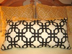 Black and White Geometric Lumbar Pillow or Pillow Cover on Etsy, $37.00