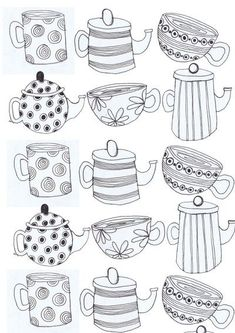Tea cups and Tea pots Art Print - but could be an idea for embroidery - or applique with spotted, striped and patterned fabric? Tea cups and Tea pots Art Print - but could be an idea for embroidery - or applique with spotted, striped and patterned fabric? Colouring Pages, Coloring Books, Tee Kunst, Sketch Note, Bordados E Cia, Tea Art, Doodle Art, Embroidery Patterns, Embroidery Art