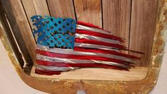Tattered and Torn American flag metal art. Do not buy a steel one, it will rust. Available in both painted and unpainted. Metal Walls, Metal Wall Art, Moss Wall Art, Small Flags, Metallic Spray Paint, Butterfly Gifts, Butterfly Art, Tin Tiles, Bottle Cap Art