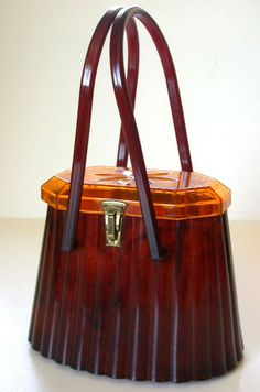 Fluted Lucite Purse - 1950's - Made by Elsa Manufacturing Co. -  Octagonal lid with floral design
