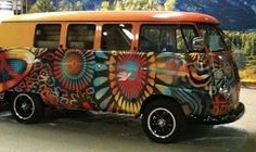 painted bus from Catch the Bus restoration and sales - has something to do with Two Old Hippies store in Aspen, CO