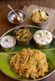 Sambar Sadam with mixed Vegetables, Seasoned Curd rice with vegetables, a vegetable curry and onion raita/pachadi. Millet Recipes, Veg Recipes, Lunch Recipes, Indian Food Recipes, Vegetarian Recipes, Cooking Recipes, Recipies, Kerala Recipes, Indian Foods