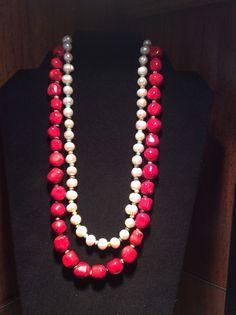 Collar de perla cultivada y turquesa africana y coral....