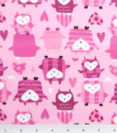 Lovely Owls on Pink Flannel Fabric By The Yard FBTY. $7.50, via Etsy.