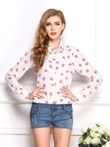 White Fashion Lapel Long Sleeve Red Lips Pattern Loose Bottoming Shirt