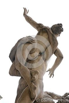 Plunder of the Sabine woman, marble sculpture and neutral background, Florence, Tuscany, Italy, Europe