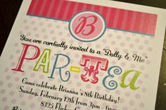 dolly and me tea party birthday invites | Dolly and Me Par-Tea