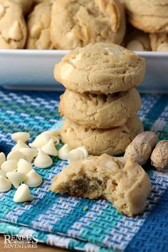 Peanut Butter White Chocolate Chip Cookies | Renee's Kitchen Adventures - Easy recipe for Peanut Butter White Chocolate Chip Cookies. Perfect a perfect addition to your holiday baking menu! Rich peanut butter cookies are studded with lots of white chocolate chips and sprinkled with a little salt. These cookies are delicious! #cookie #cookies #cookierecipe #peanutbuttercookies #chocolatechips #whitechocolatechips