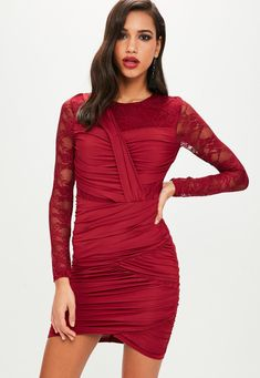 Missguided - Red Ruched Lace Bodycon Mini Dress