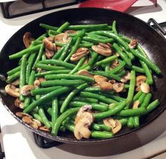 Sauteed garlic, olive oil , string beans and mushrooms