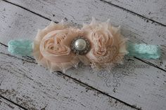 Peach Parfait Peach & Mint Shabby Flower by MySweetPeaCouture, $7.95  flower girl head bands