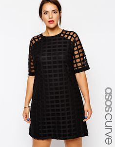ASOS CURVE Exclusive Shift Dress In Cage Mesh