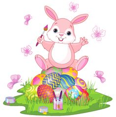 Easter Bunny With Eggs And Grass PNG Clipart Picture
