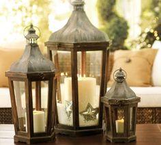 idée de décoration du jardin en lanternes en bois et métal patiné