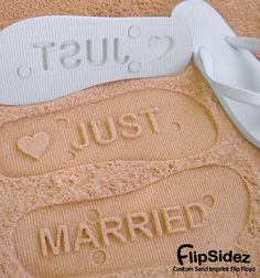 8e979a8b5f070 Just Married Flip Flops - Custom Sand Imprint Sandals for Beach Weddings