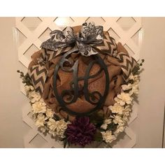 Everyday Monogram Wreath ($70) ❤ liked on Polyvore featuring home, home decor, monogram wreath, burlap bow wreath, burlap home decor, door wreaths and quote plaques