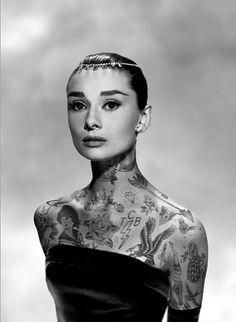 Tattooed Audrey Hepburn // Hipster Celebrity Makeovers