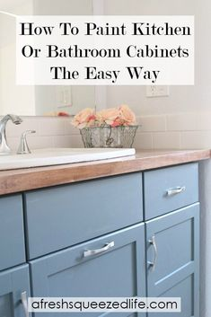Painting cabinets without sanding is a great DIY that is budget friendly! Whether you paint cabinets in the kitchen or bathroom, this is a simple re-do! Painting Bathroom Cabinets, Bathroom Furniture, Painted Furniture, Bathroom Ideas, Bathroom Beach, Small Bathroom, Handmade Furniture, Diy Furniture, Furniture Refinishing