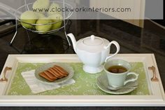 Converting a cupboard door to a serving tray; simple upcycle project - Clockworkinteriors.com