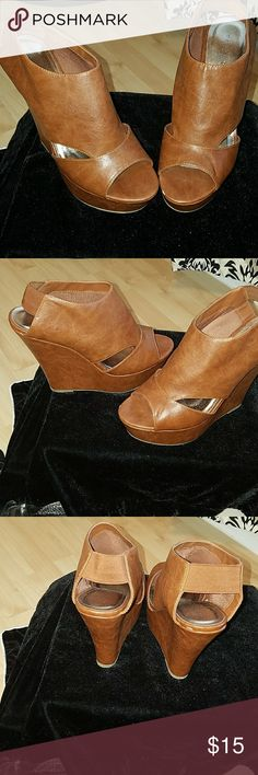 Shoes Wedge elastic strapped bootie with peep toe! Super cute! Madden Girl Shoes Wedges