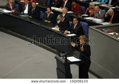 JULY 1, 2005 - BERLIN: Angela Merkel (in the foreground) and Gerhard Schroeder - parliamentary debate before the no-confidence vote against the Schroeder-government in the  Bundestag.
