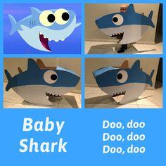 Baby shark book week costume Kids Birthday Themes, Boy Birthday Parties, Baby Birthday, Diy Shark Costume, Fish Costume, Baby Hai, Shark Books, Cardboard Crafts Kids, Shark Halloween