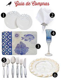 guia de compras, fundo do mar, inspiração peixe, mesa posta, como colocar a mesa, jogo de jantar, taças, talheres, louça, porta guardanapo