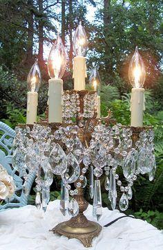 vintage elegance crystal candelabra table lamp by