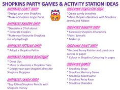 Shopkins Party Games & Activity Station Ideas Free Printable at www.instantpartypacks.com.au Kids Party Ideas/Shopkins Party Ideas