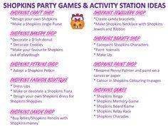 Shopkins Party Games & Activity Station Ideas Free Printable at www.instantpartypacks.com.au Kids Party Ideas/Shopkins Party Ideas