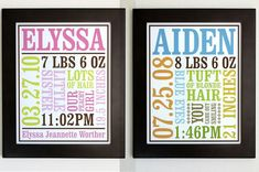 Custom Baby Birth Posters by chaiv on etsy