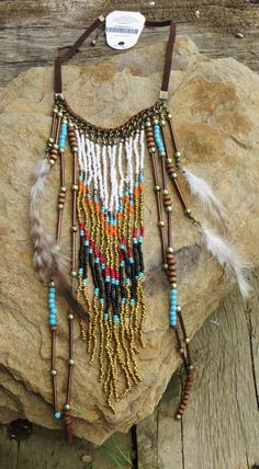 Cowgirl Bling Native FEATHERS Boho Beaded Necklace set Silver Indian Gypsy   #Unbranded #necklace