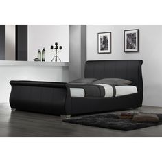 you can add a classic look with this black king sized bed frame to any bedroom the fully upholstered bed is stylish features synthetic leather
