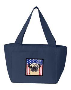 American Flag and Fawn Pug Lunch Bag BB2192NA-8808