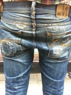 Grim Tim Dry Orange Selvedge & worn by Max - Nudie Jeans Nudie Jeans, Denim Jeans Men, Blue Jeans, Sexy Jeans, Hommes Sexy, Raw Denim, Denim Outfit, Vintage Denim, Denim Fashion