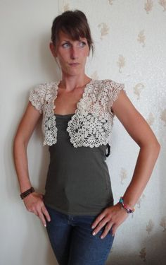 lace bolero, handmade, ecru, single hook