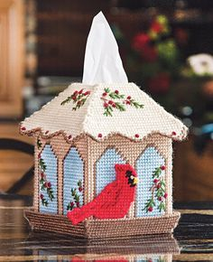 Decorate your tissue box for the holiday season with this beautiful bird cover.